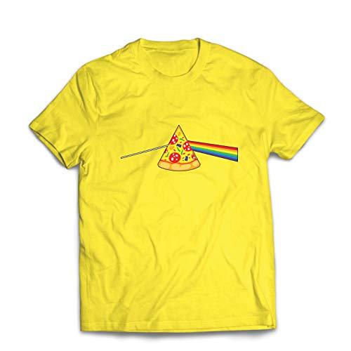 lepni.me Männer T-Shirt Pizza in der bunten Regenbogenstimmung, Lebensmittelliebhabendesign (Large Gelb (Kartoffel Mann Kostüm)