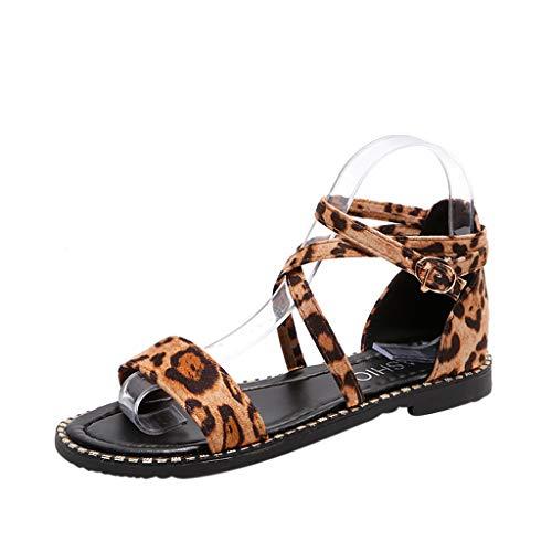 ❤Eaylis Damen Sandalen DüNne, RöMische Windzehe Mit Leopardenmuster Sommer Strand Schuhe Hausschuhe Stilvoll und elegant