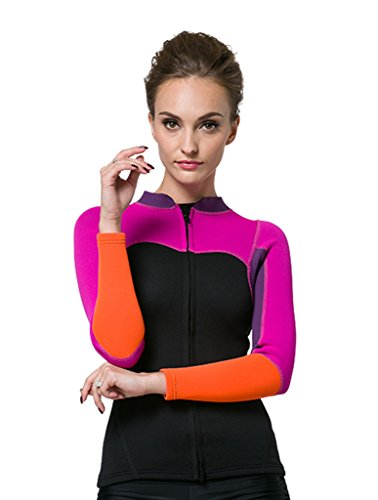 Damen 2mm Neopren Shirt Rash Guard Long Sleeve UV-Shirt UV-Schutz 50+ Rosa XL