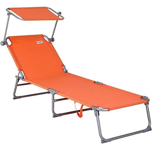 Deuba Chaise Longue de Jardin Transat Orange Pliable Pare-Soleil - Bain de Soleil