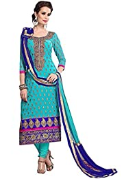 Myozz Woman's And Girl's Blue Chanderi Cotton Embroidery Semi Stitched Free Size Salwar Suit Sets Dress Material...