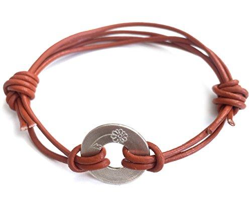 © 3Wind Knoten Gravur Blume Zeichen Wickelarmband mit Bedeutung, Sterling Silber 925Disc Anhänger an 40cm lang farbenfrohes Leder cord- Daisy (Luv-wrap)