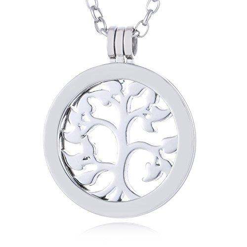 Morella Mujeres Collar 70 cm Acero Inoxidable con Amuleto y Colgante Coin 33 mm árbol de la Vida Plateado en Bolsa de la joyería