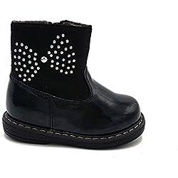 Shoes scarpe bimba bambina neonata primi passi stivaletto autunnali invernali sportive alla caviglia casual comode con cerniera lucide colore nero numero 19