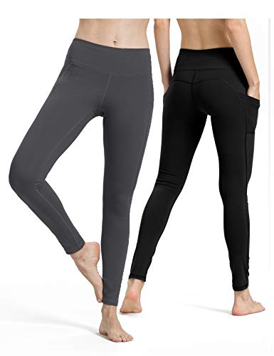 Gestreifte Enge (ALONG FIT Sport Leggings mit Taschen Damen Sporthose Yogahose Fitnesshose Yoga Leggings für Damen, 2er Pack)