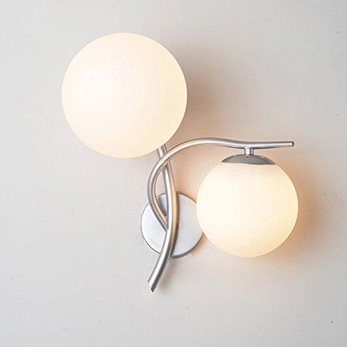 Lithx Nordic Einfachheit Metall Wandleuchte Laterne E27 2-Licht Wandleuchten Wandleuchte mit Kugel Glasschirm für Wohnzimmer Restaurant Schlafzimmer Treppen (Silber Gold) ( Color : Silver )