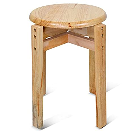 GAOJIAN Solid Wood Round Stool High-Foot Round Chair Living Room Small Stool Reinforcement Oak House Restaurant Small Round Stool High 44Cm Wide