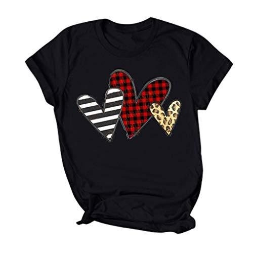 serliyDamen Valentine\'s Day Tee Mode Herz Print Tops Festliches Kurzarm T-Shirt Party Shirts Frauen Streetwear Bluse Oberteile Gotik Top Nachtclub Partykleidung