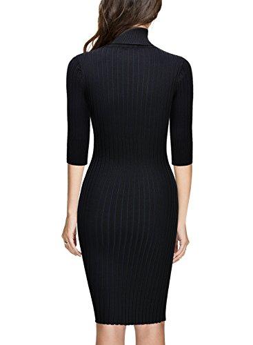 Miusol Wollkleid Strickkleid hoher Kragen Figurbetontes Pullover Kleid - 2