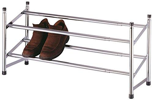 AVANTI TRENDSTORE - Tani - Scarpiera allungabile in metallo cromato, dimensioni: LAP 62,5-119x35,5x22 cm