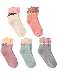 VBIGER 5 pares Niña Calcetines Termicos de Invierno Algodón Caliente Calcetines 3-5 Años & 6-9 Años