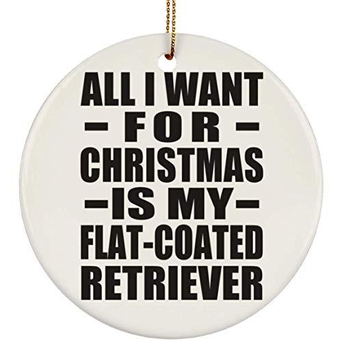 Designsify All I Want for Christmas is My Flat-Coated Retriever - Circle Ornament Kreis Weihnachtsbaumschmuck aus Keramik Weihnachten - Geschenk zum Geburtstag Jahrestag -