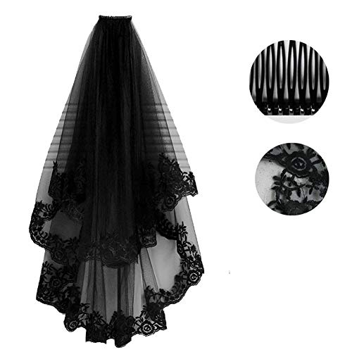 GAOwi Schwarz Brautschleier Mit Kamm Spitze Zwei Schichten Tüll Kurze Brautschleier Zubehör für Halloween Party Kleid (60-80 cm)