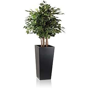 Pflanzkübel Blumenkübel LAVIA 70 Fiberglas, 35x35x70 cm, schwarz matt Premium-Pflanzgefäß