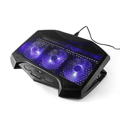 LESHP H1 Wind Laptop Kühler - 3 Modi - 3 große Lüfter - 2 USB Laptop Cooler Cooling Pad Belüfteter Notebookständer Gamer Gaming Stützhalterung Black Mute -