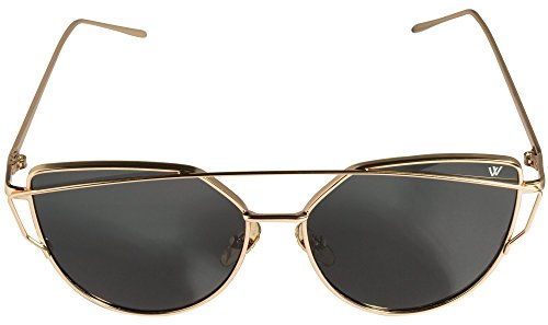 Cateye Sonnenbrille in gold verspiegelt UV400 retro vintage Katzenaugen Mode Fahsion Metallrahmen Sunglasses classic - Whatever®