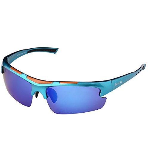 Duco polarizzata progettista modo mette gli occhiali da sole per baseball ciclismo pesca golf tr90 superlight telaio 6200 (blu-blu)