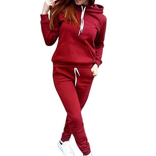 Sannysis Damen Kapuzenpullover Damen Langarm Sweatshirt Hoodie Bluse + Lange Hose 2 Stück Outfit Sportbekleidung Set (L, Rot) (Shirt Ebene 2)