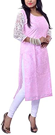 Riiti Designs Women's Cotton and Super Net Kurti (Rii031-XL, Pink and White, XL)