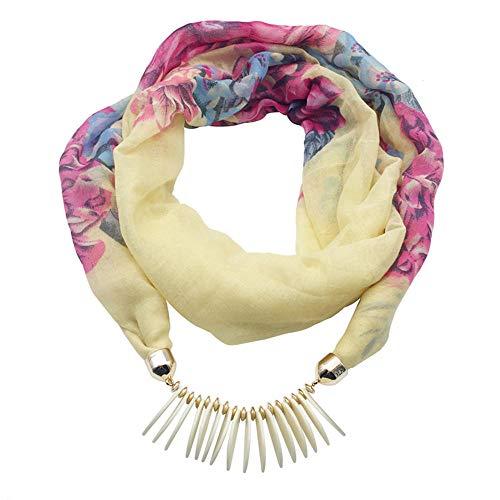 TaoRan National Wind Schal Damen Lätzchen Acrylharz Anhänger Schmuck Kragen Damen Schal Halskette Schal - weiß_180cm Knit Wind Jacke