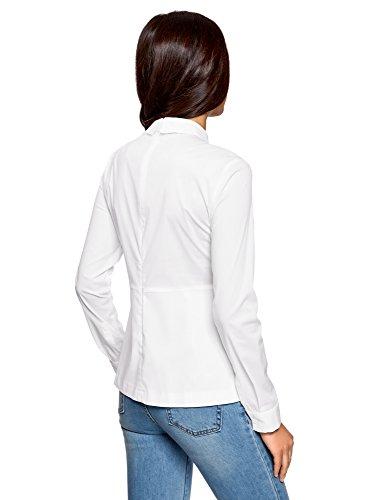oodji Ultra Damen Baumwoll-Bluse mit Schößchen Weiß (1000N)