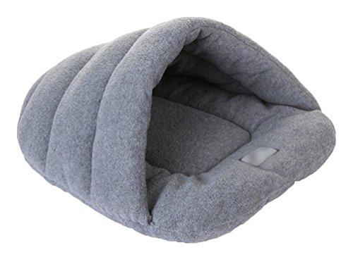 YiJee Warm Haustier Schlafsack Weich Gemütlich Bett und Höhle für Katzen und Hunde Grau L -