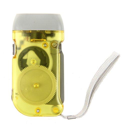 Sodial(R) - Lampada 3 LED a pressione, senza batterie e a carica manuale, per campeggio ed esterni, colore: Giallo