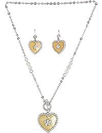 Golden Peacock Silver & Yellow Jewellery Set