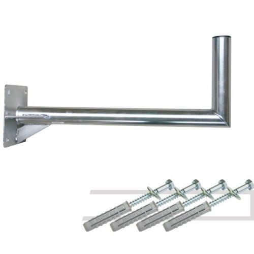 Wandhalter PremiumX 60 cm Ø 48mm Stahl verzinkt inkl. Mastkappe + Fischer Schraubensatz für Wand Montage