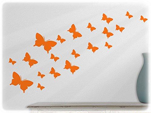 wandfabrik - Wandtattoo - 20 schöne Schmetterlinge (Set2) in pastellorange (Jugend-fußball-uhr)