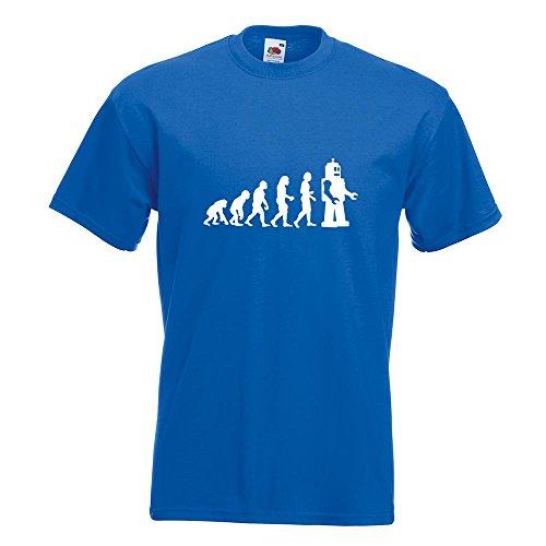 KIWISTAR - Evolution Roboter T-Shirt in 15 verschiedenen Farben - Herren Funshirt bedruckt Design Sprüche Spruch Motive Oberteil Baumwolle Print Größe S M L XL XXL Royal
