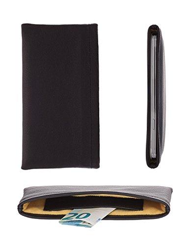 luvbag DesignX schwarz Handytasche Hülle Tasche aus Leder mit Microfaserinnenfutter und Innentasche z.B. für Geldscheine für Samsung SGH-X140 Handyhülle