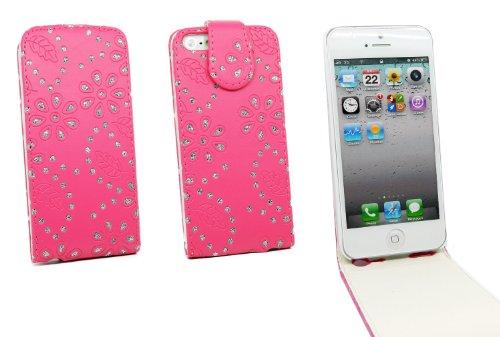 Kit Me Out FR Étui à rabat cuir synthétique pour Apple iPhone SE / 5S - blanc petites fleurs strass rose vif petites fleurs strass