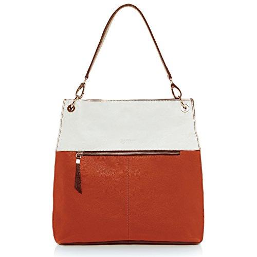 BACCINI® Schultertasche CAPRI - Damen Umhängetasche groß Ledertasche - Handtasche Damentasche echt Leder schwarz-blau schwarz-orange