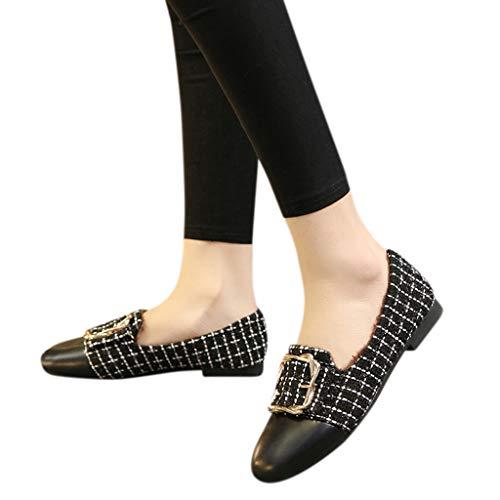 TianWlio Ballerinas Damen Leder Flacher Schuhe Schlüpfen Flache Schuhe mit Flachem Absatz Square Toe Einzelne Schuhe Black 40