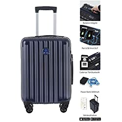 Valise CONNECTEE, Trolley Cabine 50CM, ABS+PC Film, Navy