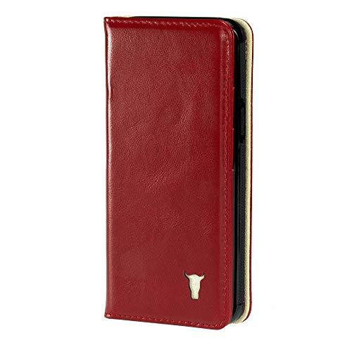 TORRO Hülle kompatible mit iPhone XS. Ledertasche aus echtem, hochwertigem Leder mit Standfunktion und Bargeld- / Visitenkartenslot, Rot, iPhone X/XS