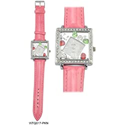 Acess Diamante Encrusted Square Bezel Diamond Shaped Bejewelled Face Ladies Watch with Pink Leather Strap