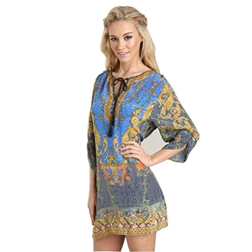 Vintage-print-muster (feiXIANG Damen frauen wind vintage print lose kleid muster Bedrucktes kurzärmeliges T-Shirt pullover (XL, Blau))