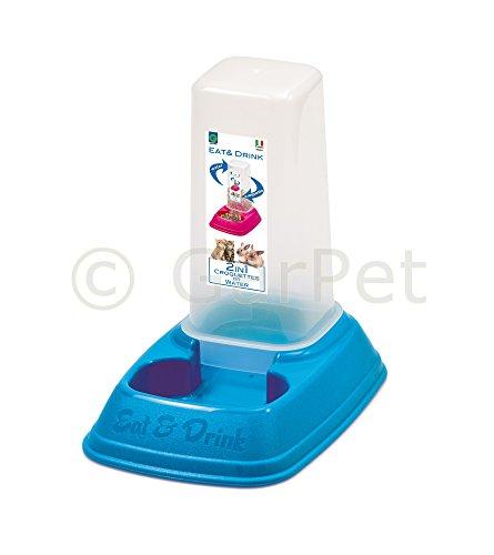 Futterspender Wasserspender Hunde Katzen Futter Wasser Napf Automat Spender (Gr.1, blau)