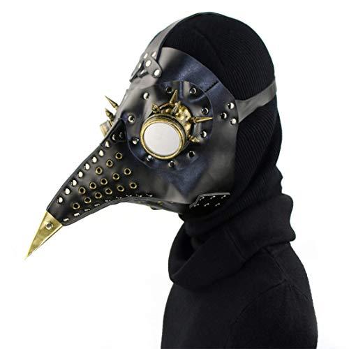 UZZHANG Leder Steampunk Full Face Pest Arzt Vogel Maske Lange Nase Schnabel Faux Cosplay Halloween Weihnachten Kostüm Requisiten (Farbe : Style2) (Schnabel Arzt Kostüm)
