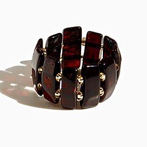 Dunkelroter Baltischer Kirschbernstein Breiter Dehnbarer Ring in Größe 17-19