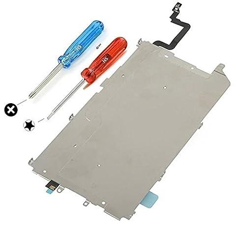 Plaque Arrière écran LCD Noir en métal pour Iphone 6 PLUS avec bouclier thermique, button Home pré-installé et câble nappe