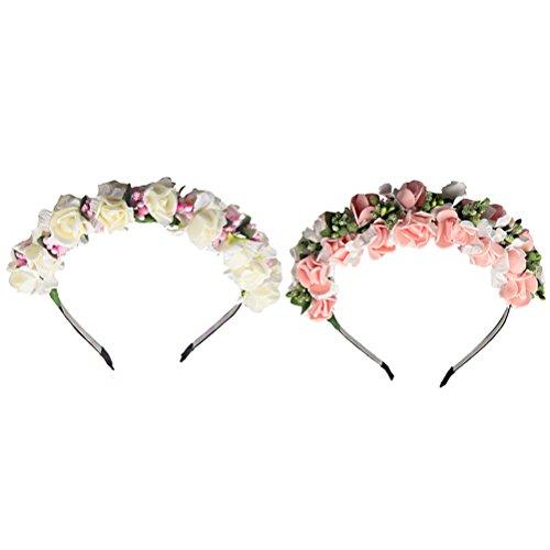 Amosfun 2 stücke Hochzeit Braut Blume Blumenstirnband Krone Kopfschmuck Hochzeit Tiara Haarschmuck (Schaum Tiara)