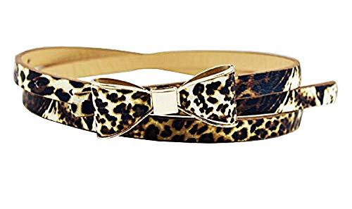 Lovelegis Cinturón de mujer - Leopardo fino - Piel sintética - Hebilla - Lazo - Idea regalo Navidad y cumpleaños