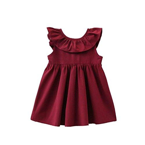 Elecenty Mädchen Prinzessin Kleid,Kinder Solide Strandkleid Rückenfrei Hochzeitskleid Sommerkleid...