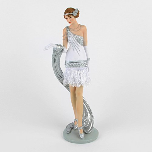 Gatsby Girl Kleid (Silber & Weiß Kleid