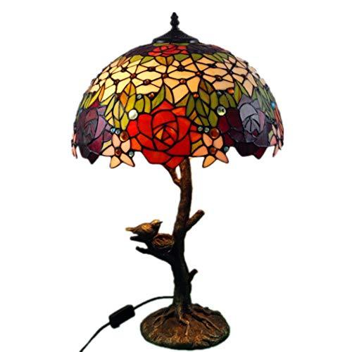 Tiffany Stil Tischlampe Schreibtisch Neben Lampen 16 Zoll Kreative Rose Bird Eye Protection Schreibtischlampe Kunstglas Dekorative Tischlampe for Wohnzimmer Schlafzimmer -