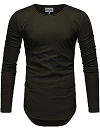 f43b346c2f54 Crone Herren Langarm Shirt Longsleeve Slim Fit T-Shirt Leicht Oversize Basic  Sweatshirt in vielen