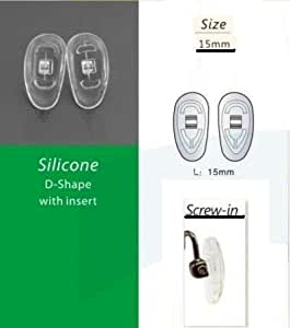 5 Pairs of Screw in Silicone Nose Pads, L=15mm (D-shaped)